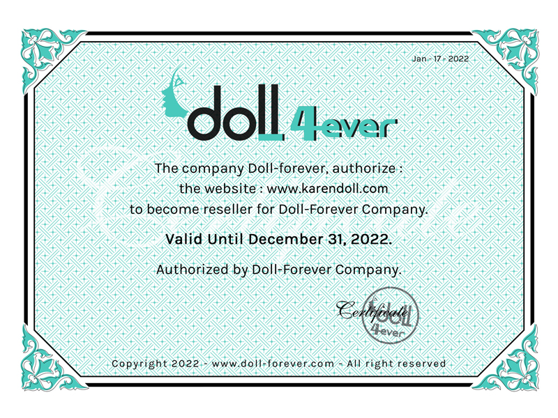 Doll forever代理認定書